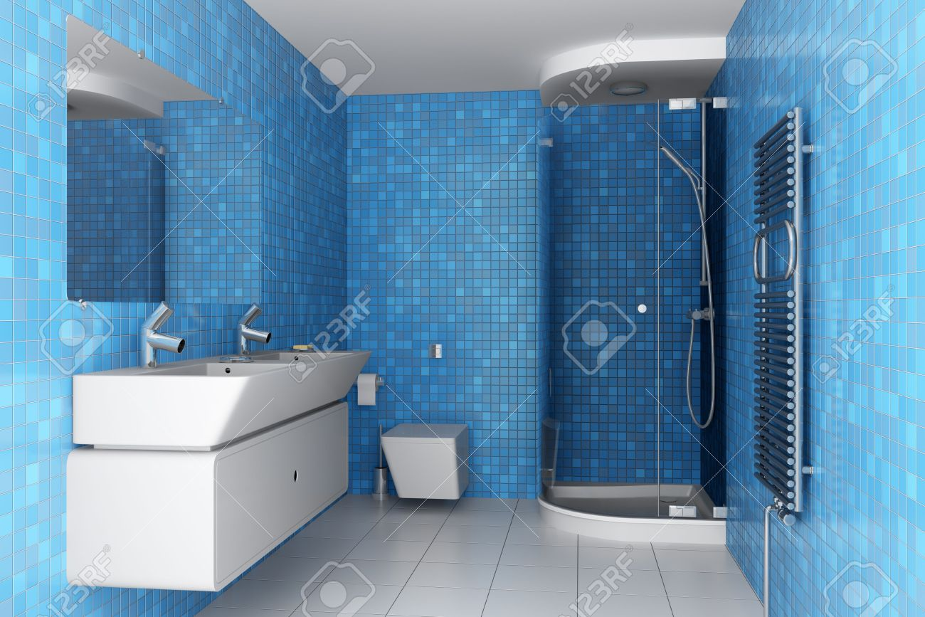 Modern Bathroom With Blue Tiles On Wall And White Equipment Stock ...