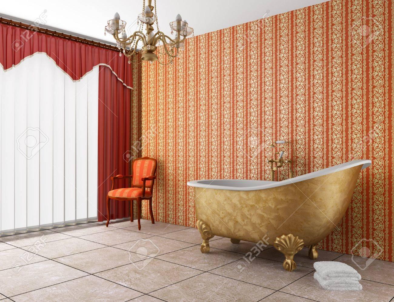 klassische badezimmer mit badewanne und rot gestreiften stadtmauer