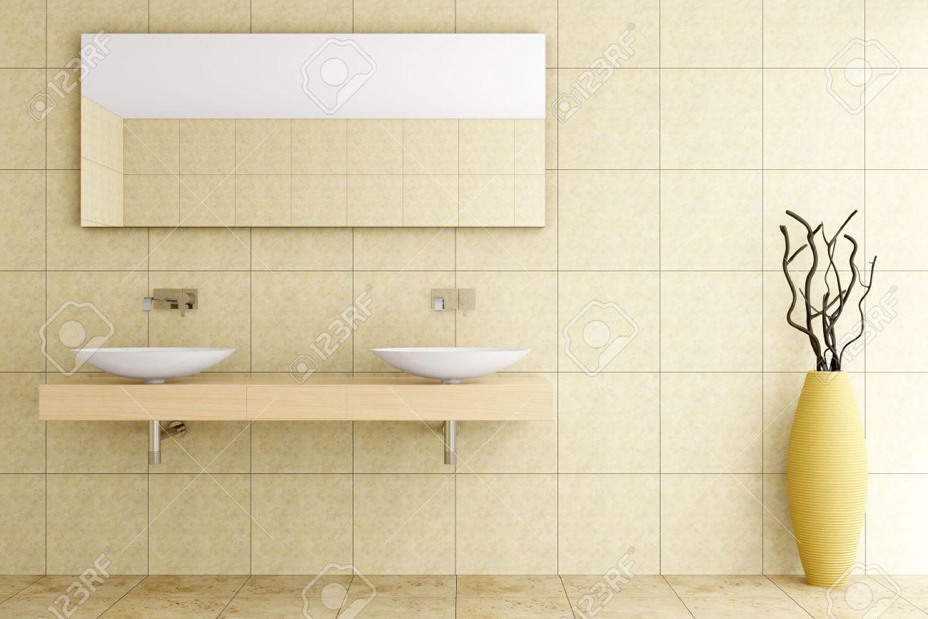 Baño moderno con azulejos beige en pared y piso fotos, retratos ...