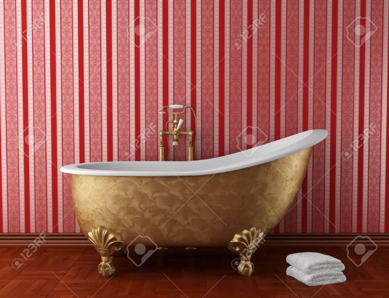 klassische badezimmer mit alten badewanne und red stripped wand