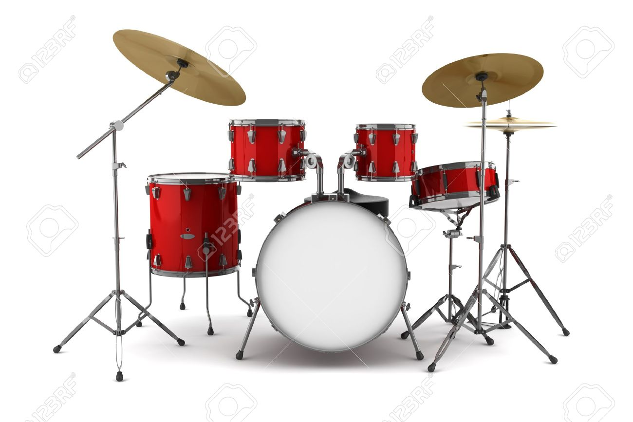 Red Drum Kit Isolated On White Background Stock Photo Picture And