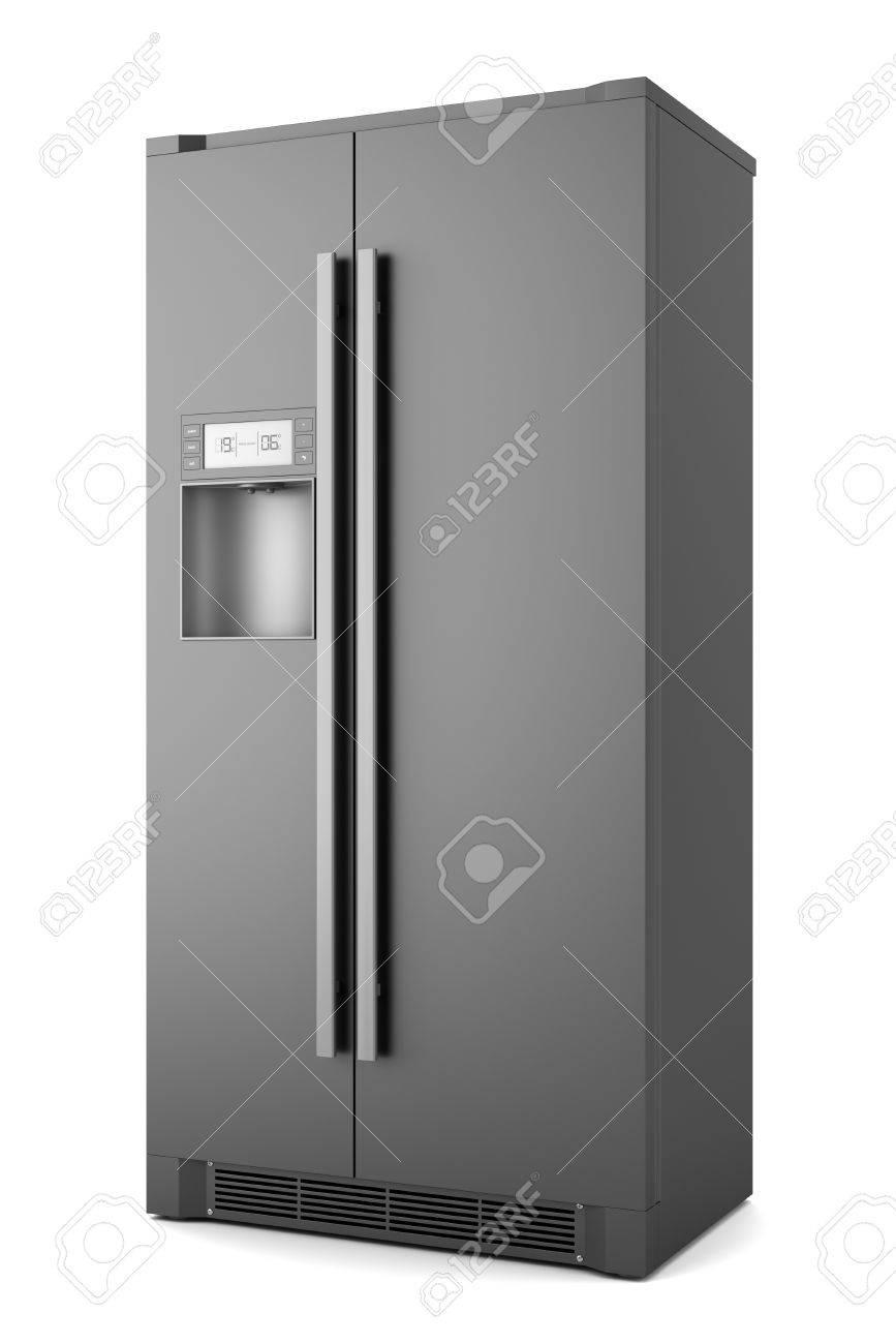 single modern black refrigerator isolated on white background Stock Photo - 9373994