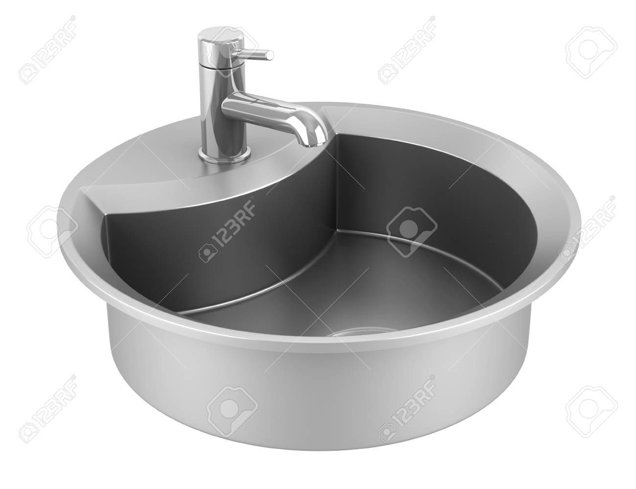 modern metal sink isolated on white background Stock Photo - 9464891