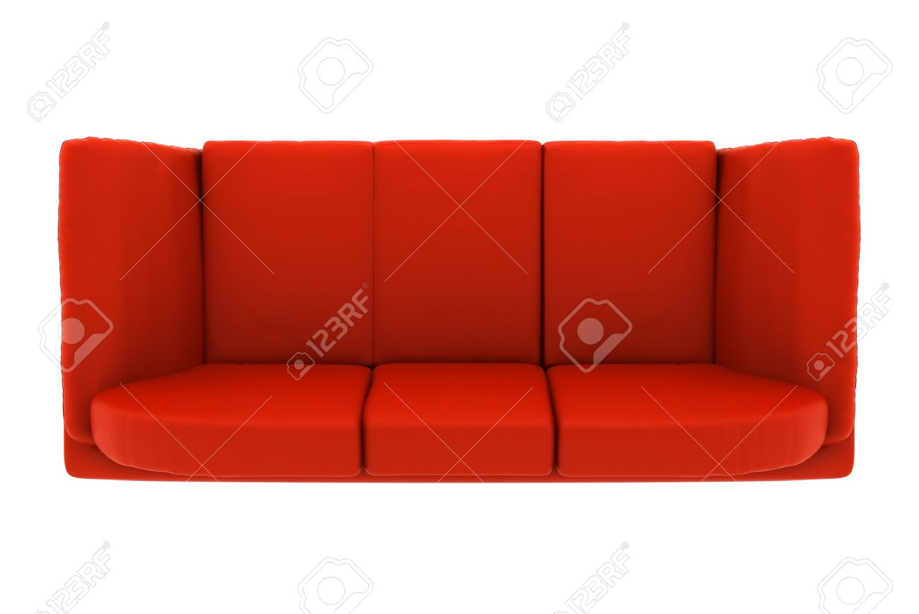 Rode Leren Loveseat.Modern Red Leather Couch Isolated On White Background Top View