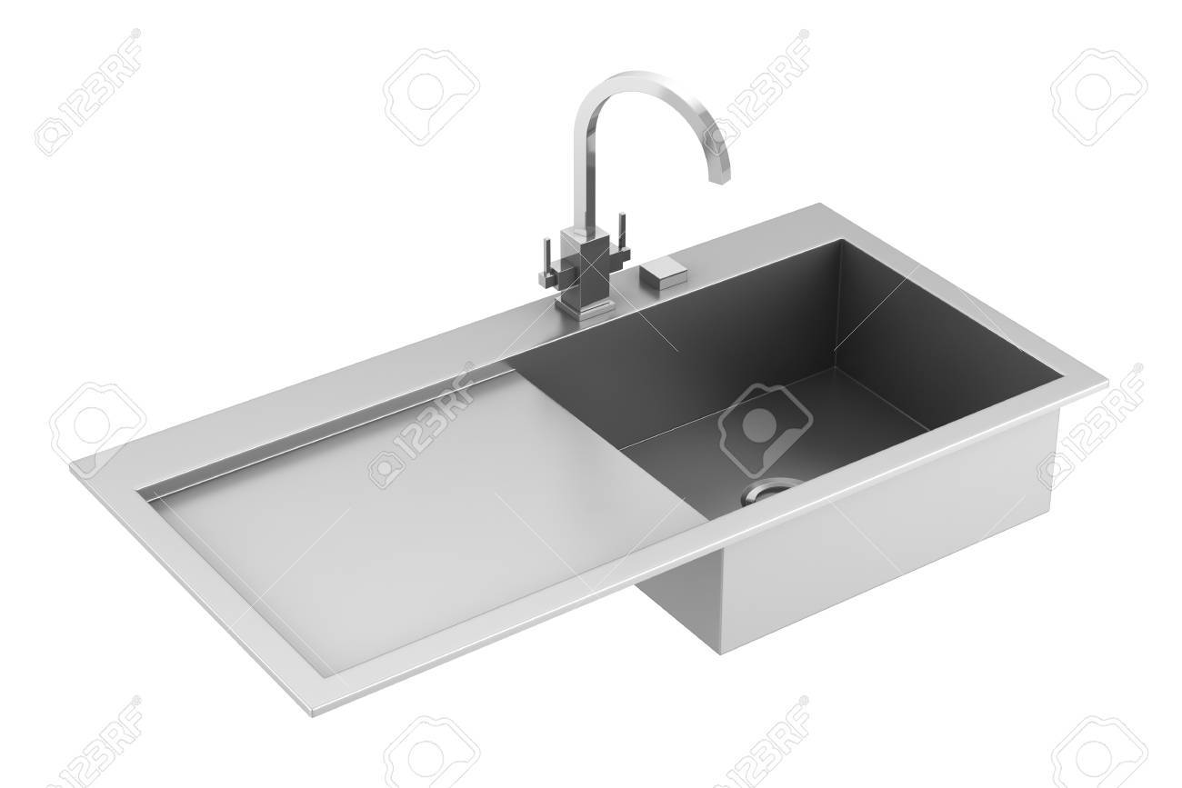 modern metal sink isolated on white background Stock Photo - 9991869
