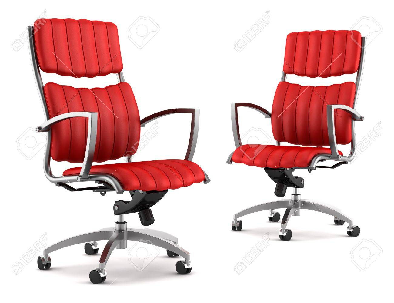 Two Modern Red Office Chairs Isolated On White Background Stock Photo
