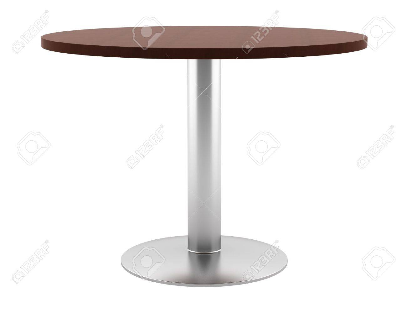 Circular Tables: Modern Brown Wooden Round Table Isolated On White  Background