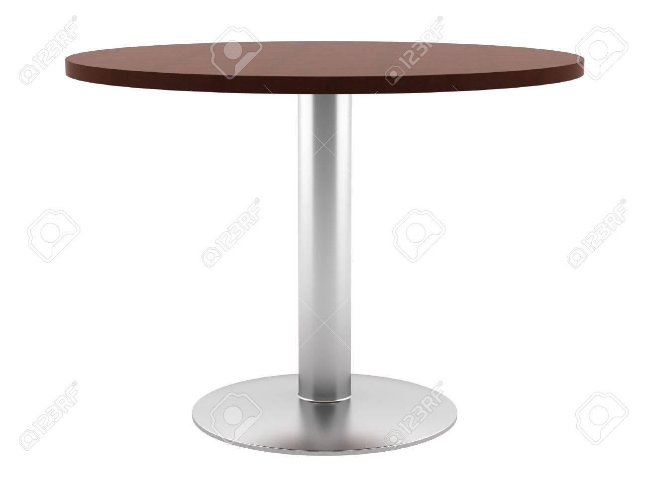 Witte Houten Ronde Eettafel.Moderne Bruine Houten Ronde Tafel Gea Soleerd Op Witte Achtergrond
