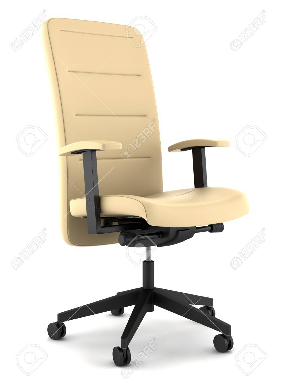 Modern Beige Leather Office Chair Isolated On White Background Stock Photo Picture And Royalty Free Image Image 10319443