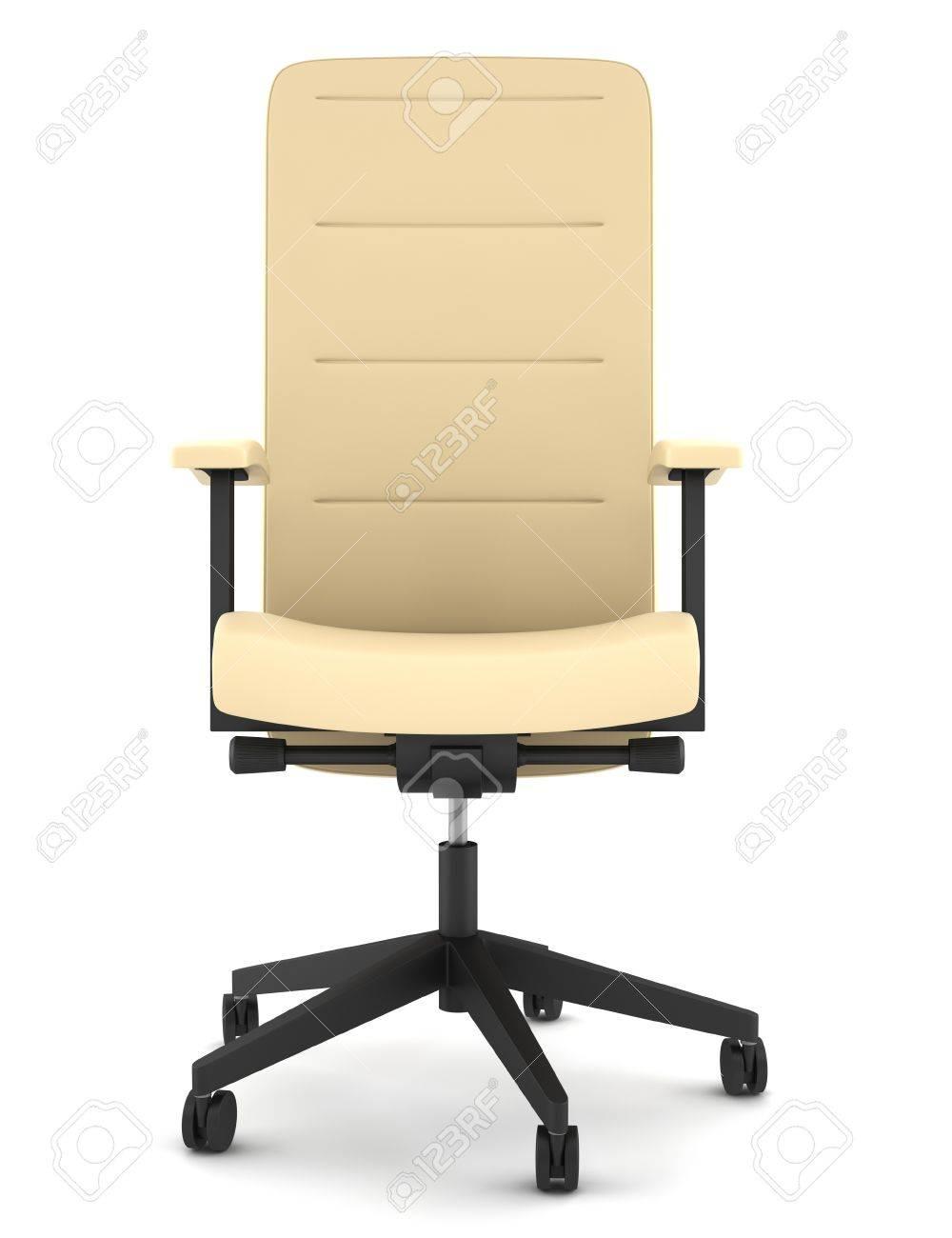 Moderne Lederen Bureaustoel.Moderne Beige Lederen Bureaustoel Geisoleerd Op Witte Achtergrond