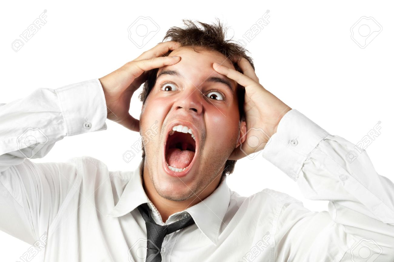 young office worker mad by stress screaming isolated on white Stock Photo - 10401693
