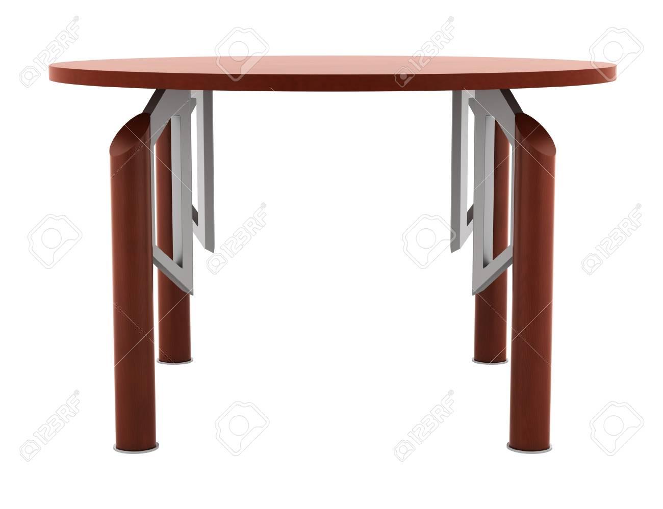 Moderne bruine ronde kantoor houten tafel geïsoleerd op witte