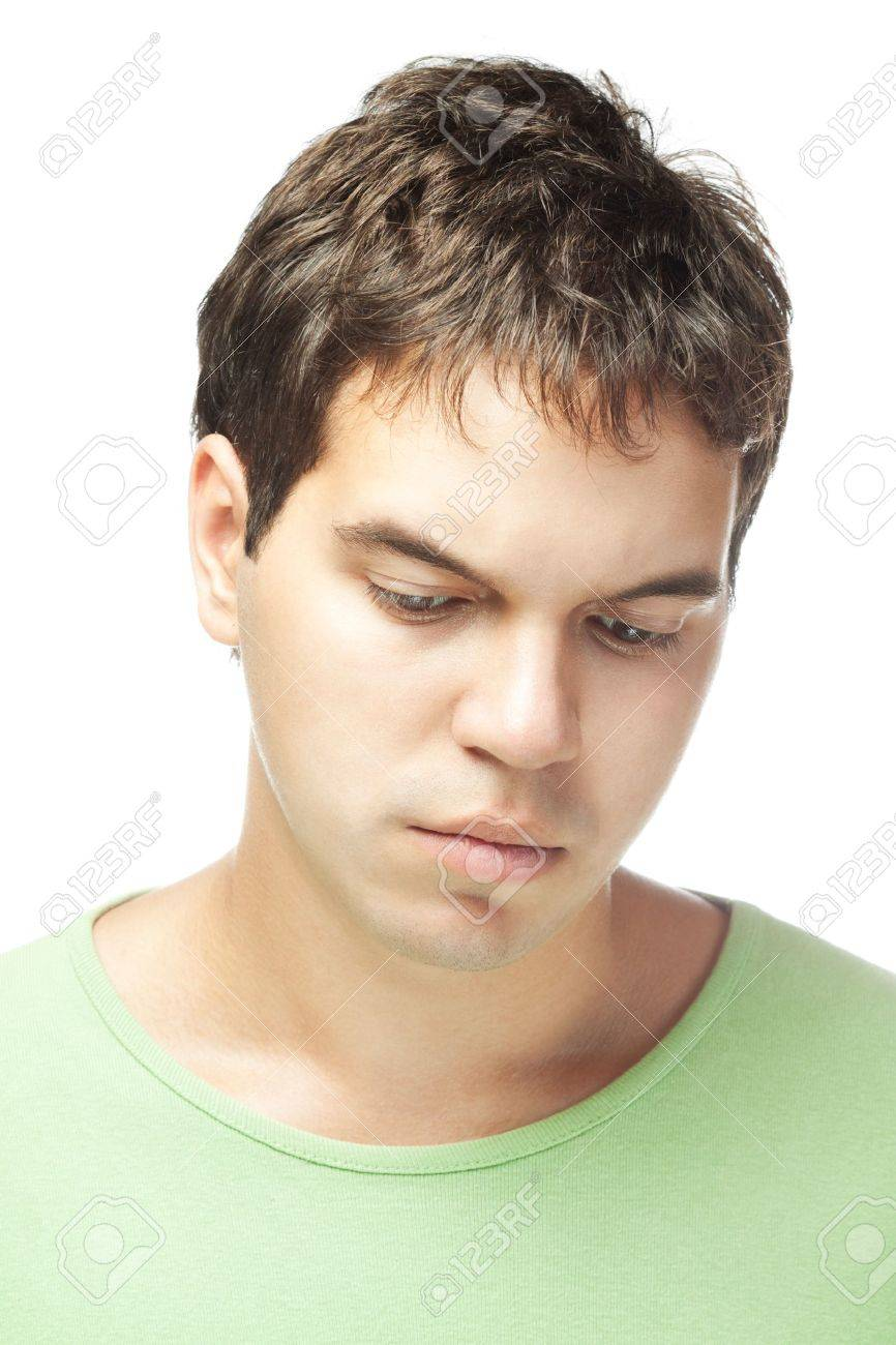 portrait of sad young man isolated on white background Stock Photo - 10530769