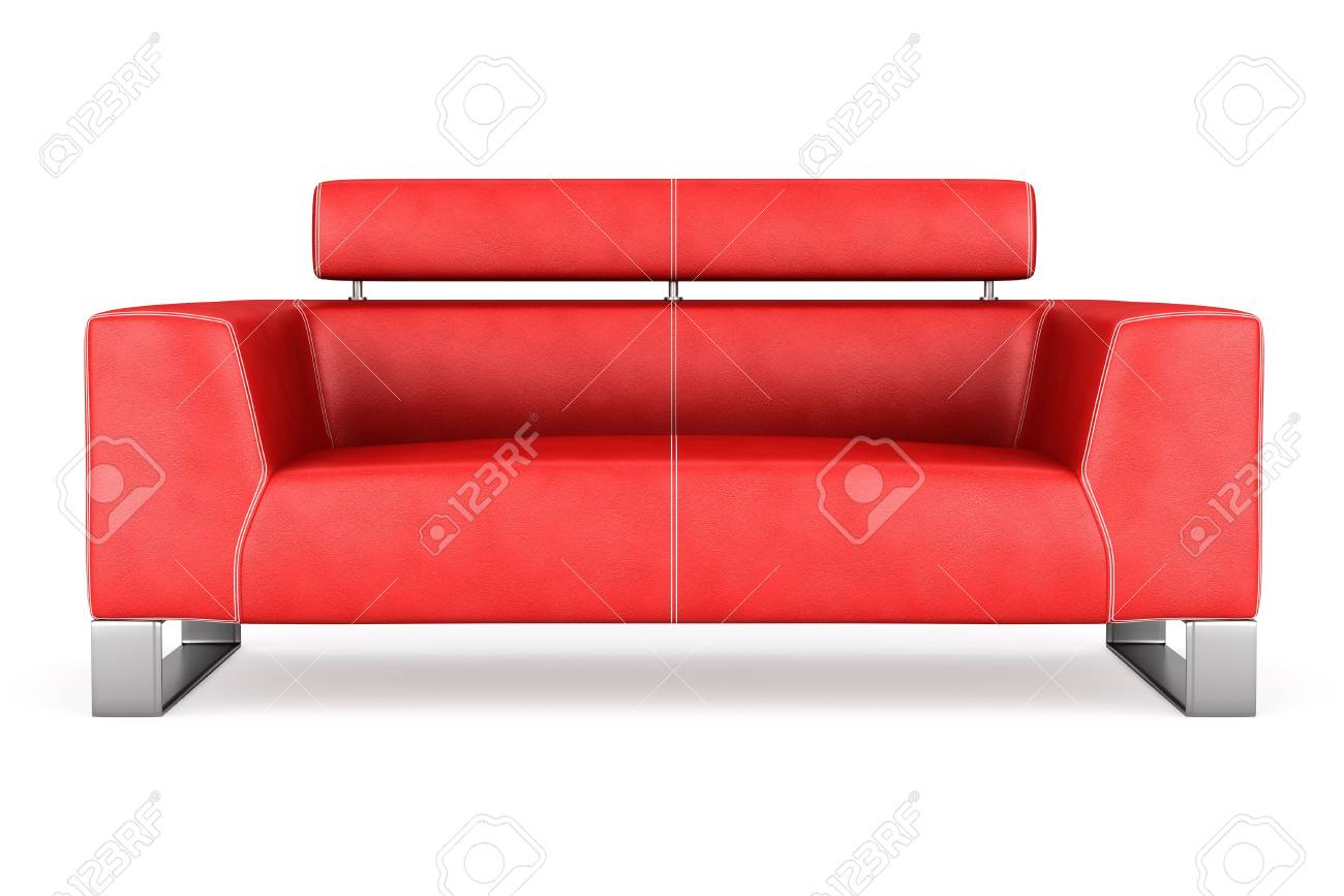 modern red leather couch isolated on white background