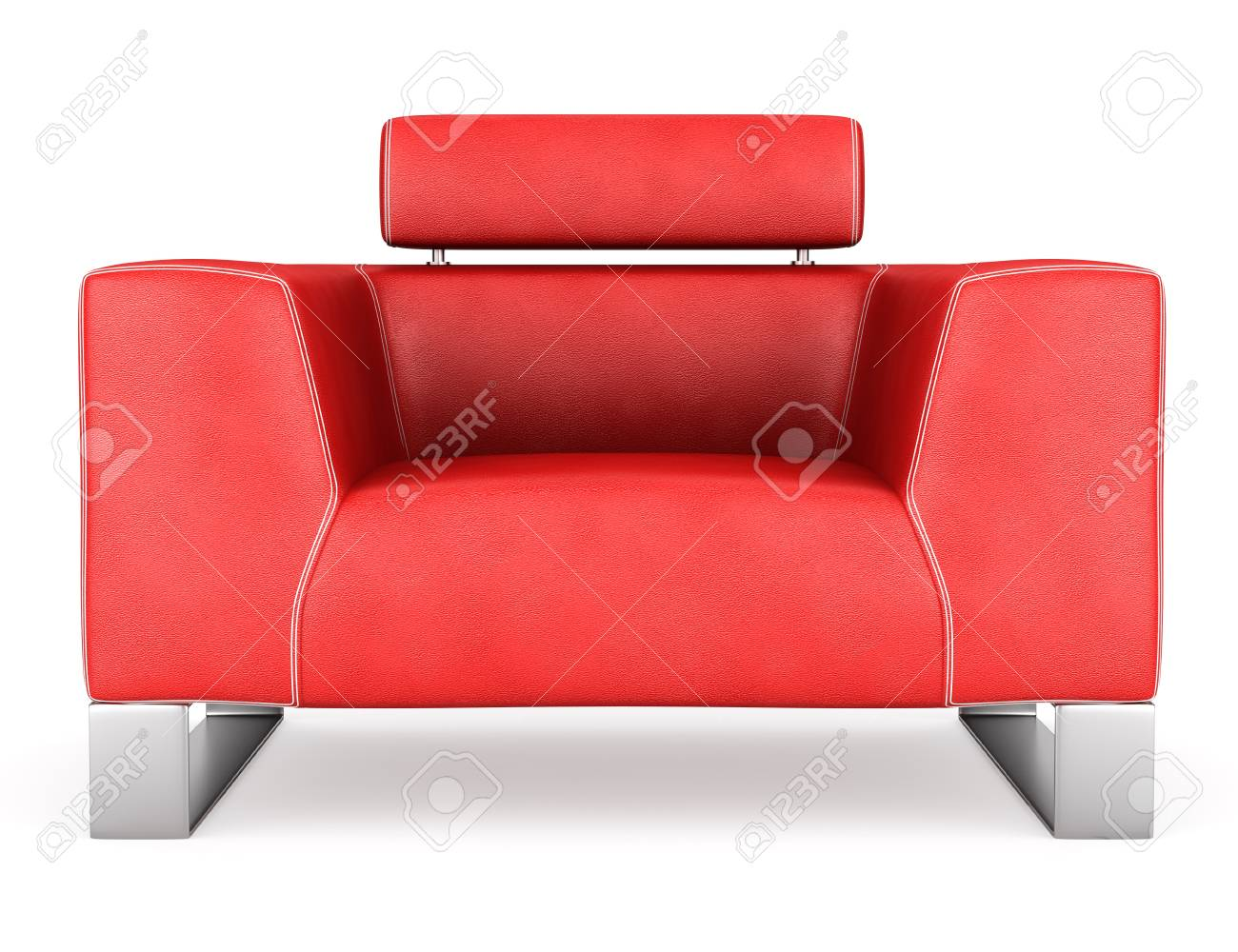 Peachy Modern Red Leather Armchair Isolated On White Background Machost Co Dining Chair Design Ideas Machostcouk