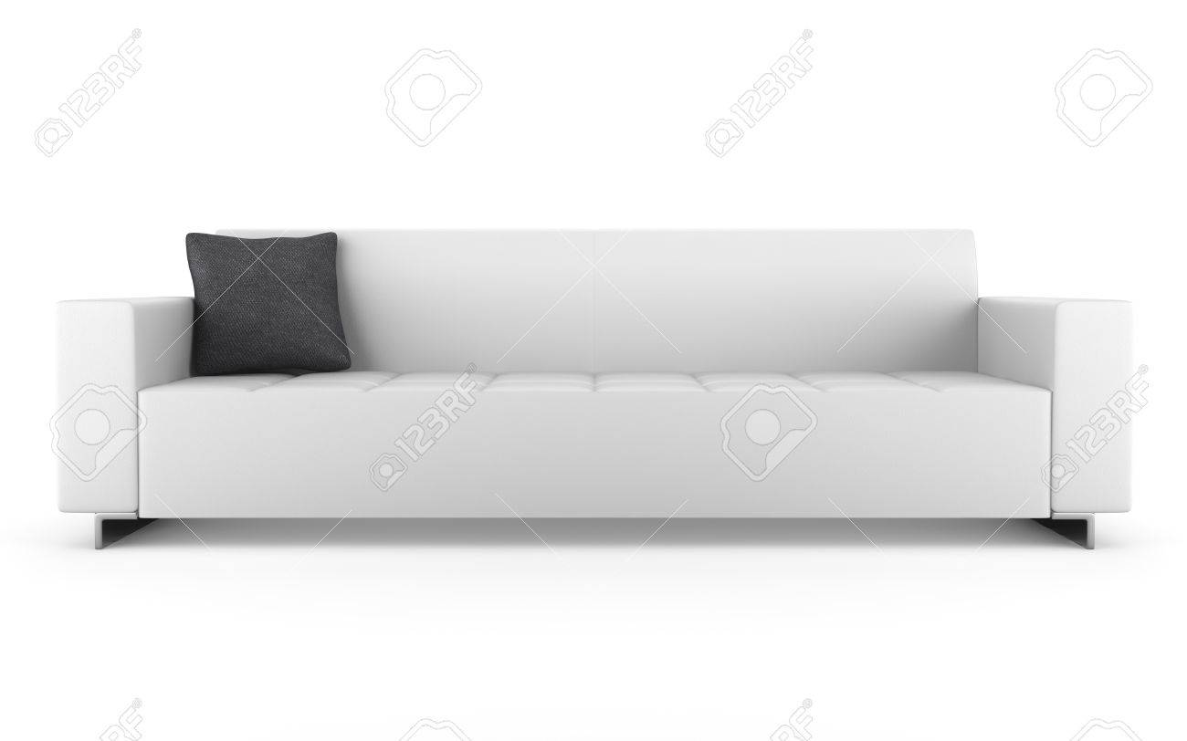 modern leather couch isolated on white background stock photo  - modern leather couch isolated on white background stock photo