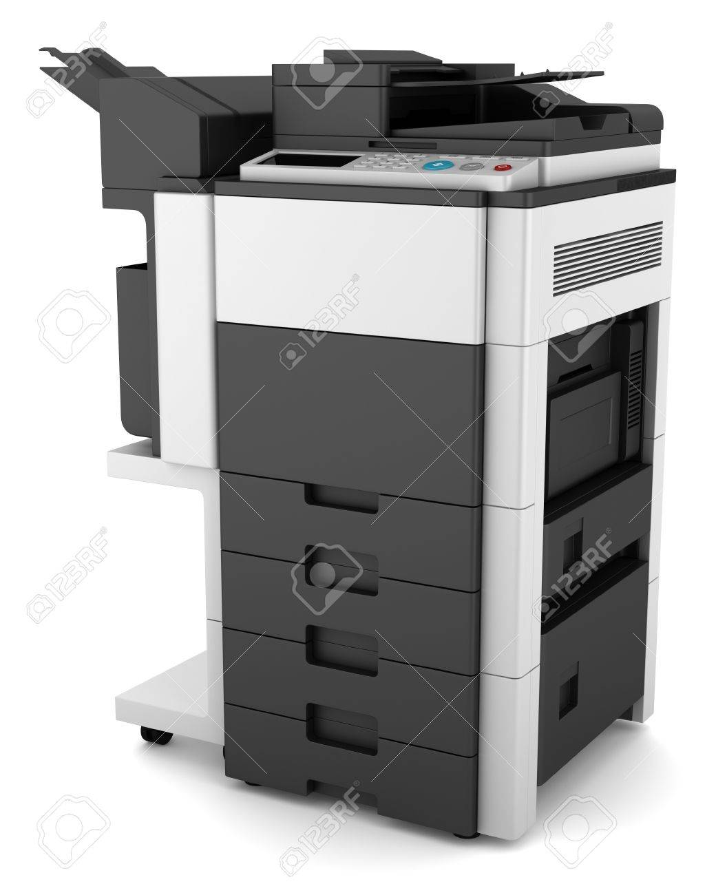 Moderne Imprimante Multifonction De Bureau Isol Sur Fond Blanc