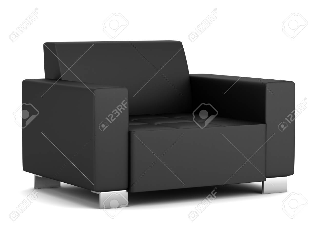 photo black leather armchair isolated on white background
