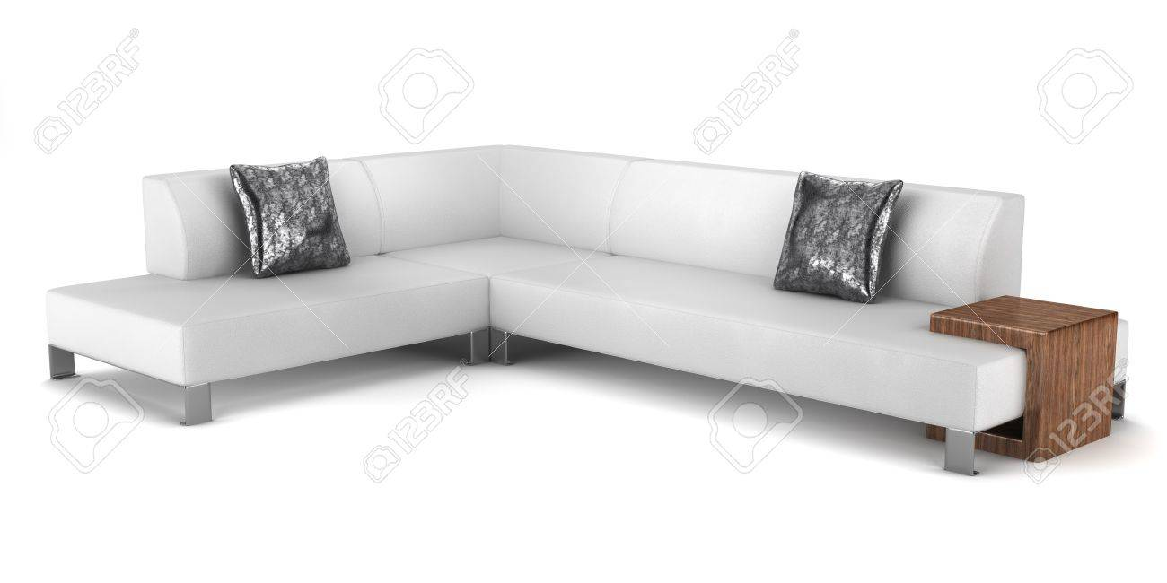 modern leather couch with pillows isolated on white background  - stock photo  modern leather couch with pillows isolated on white background