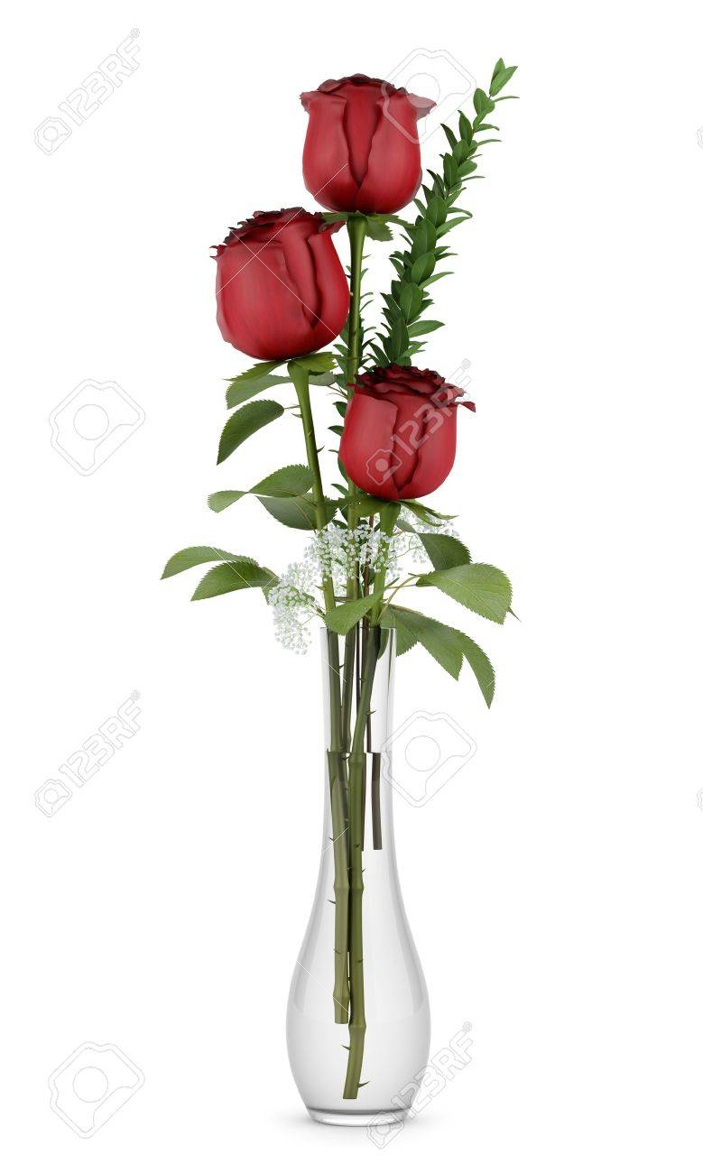 three red roses in glass vase isolated on white background Stock Photo - 14406156