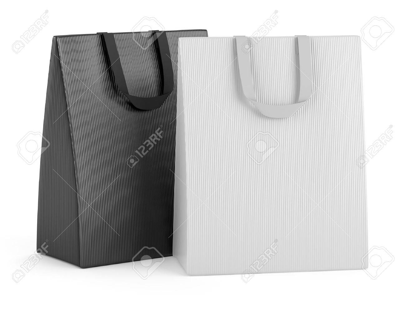 two blank shopping bags isolated on white background Stock Photo - 15934723