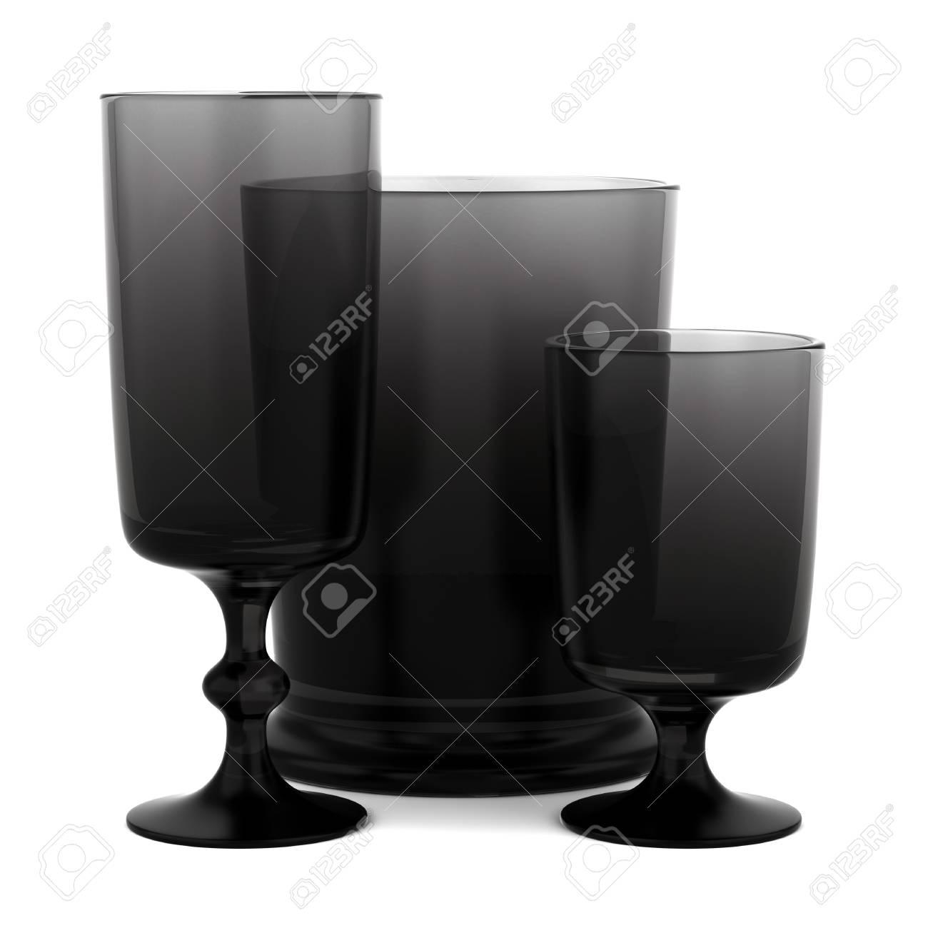 three black empty glasses isolated on white background Stock Photo - 16148320