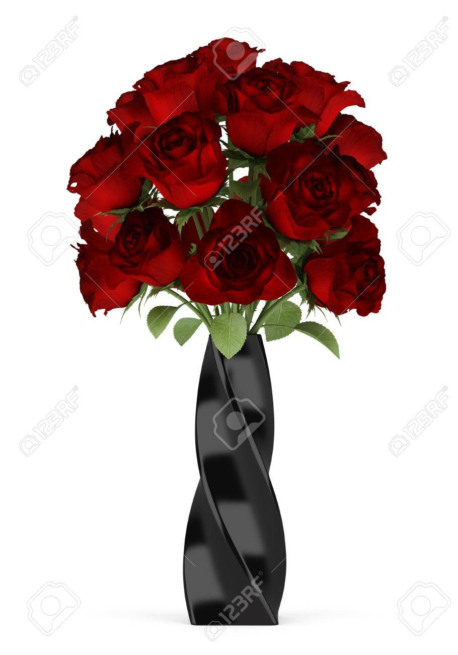 bouquet of red roses in black vase isolated on white background Stock Photo - 17206874