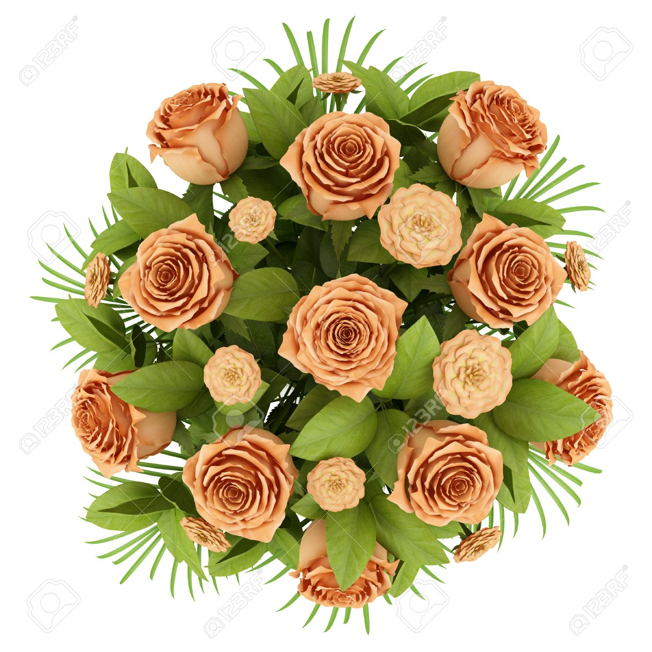 Best Stock Photo Top View Bouquet Of Orange Roses Isolated On White Background With Plant Png