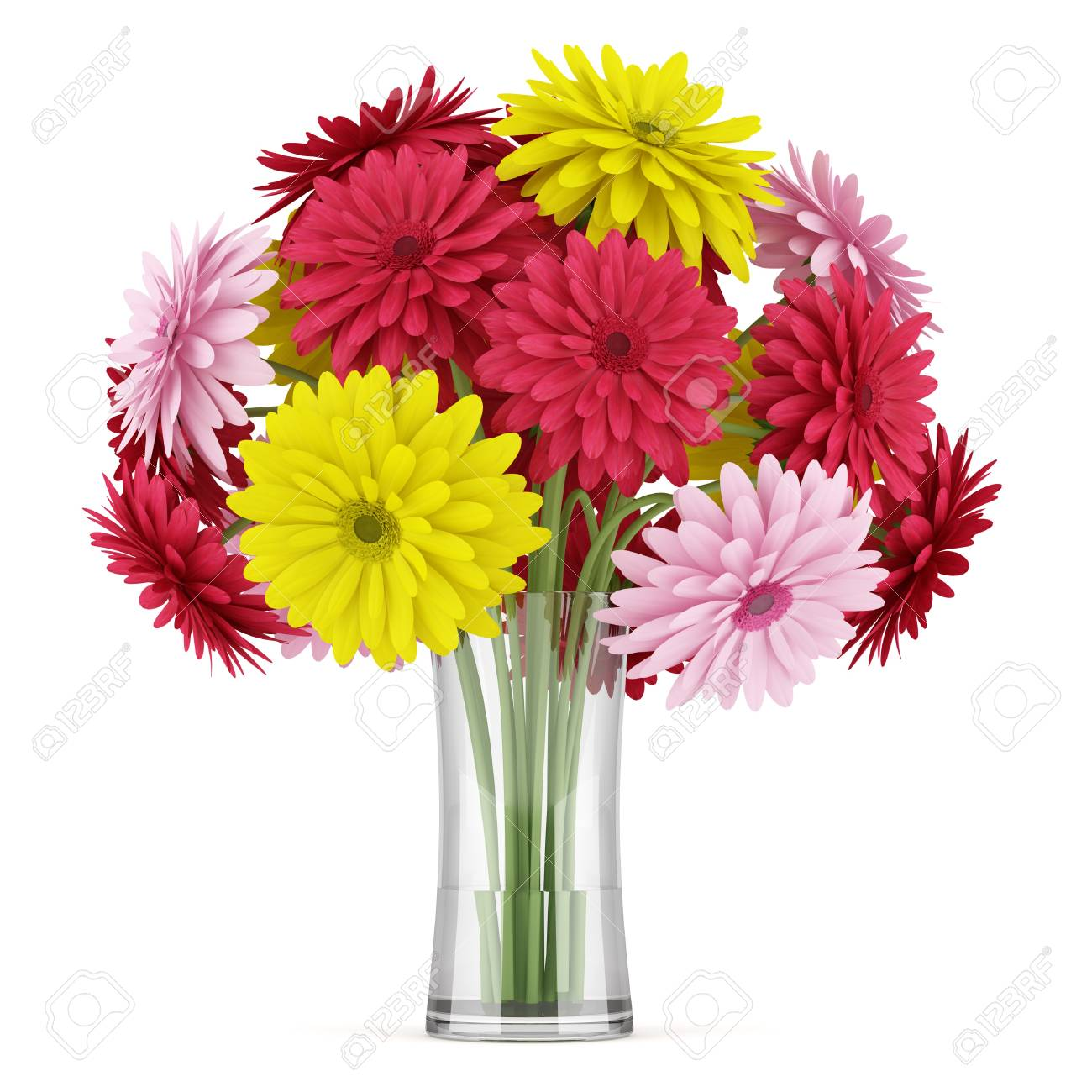 Bouquet Of Yellow Red And Pink Flowers In Vase Isolated On White