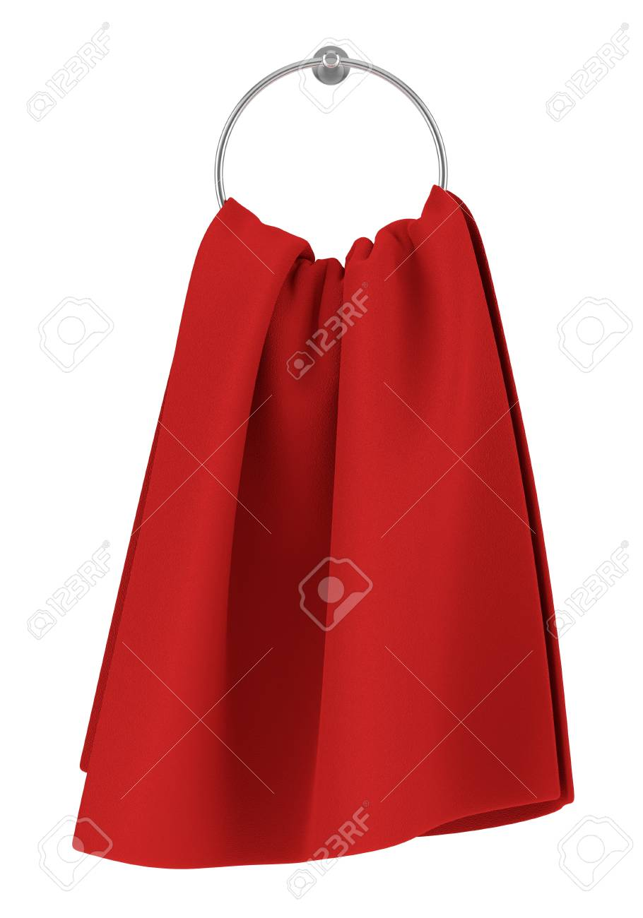 red towel on hanger isolated on white background Stock Photo - 17600946