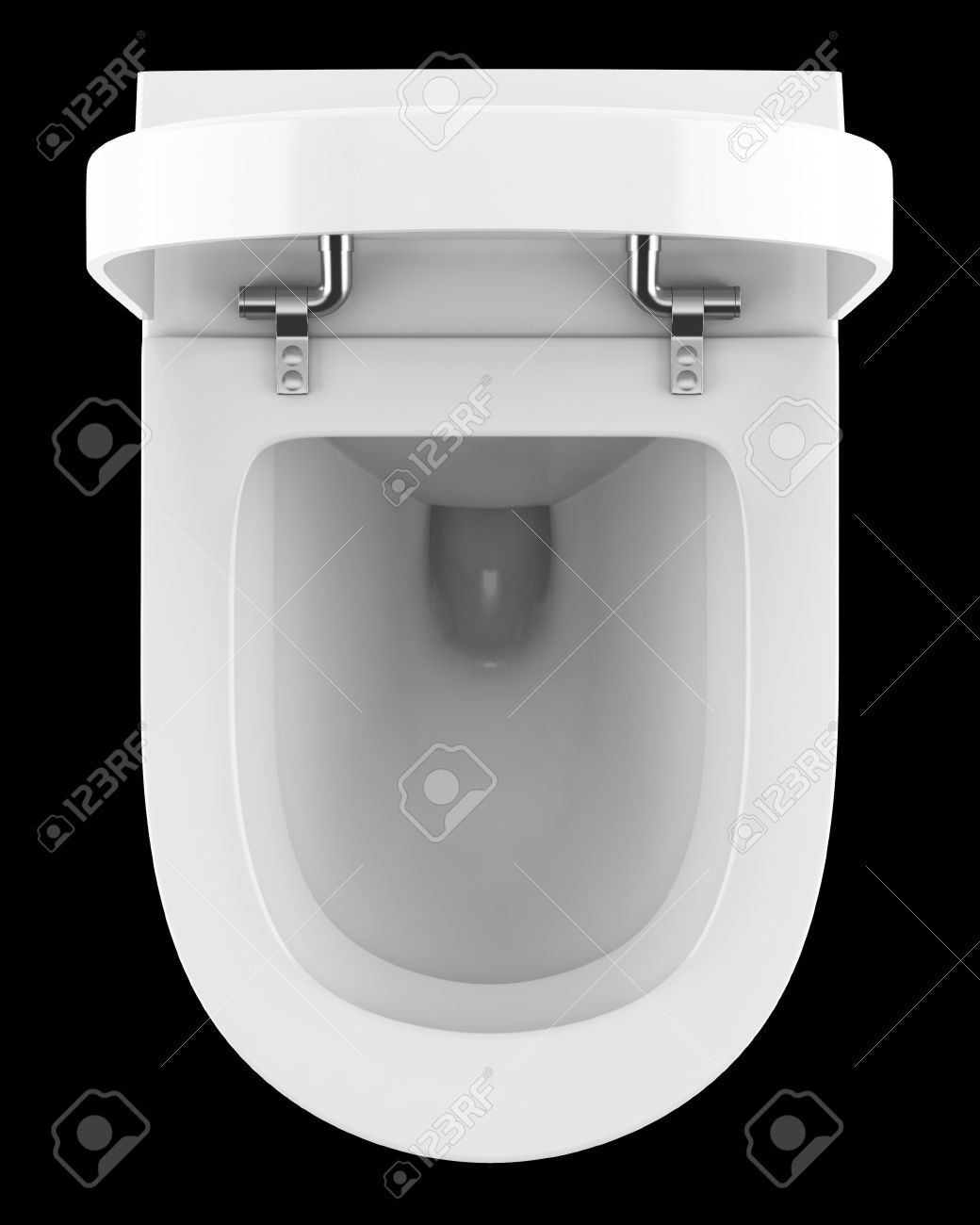 Top View Of Modern Toilet Bowl Isolated On Black Background Stock