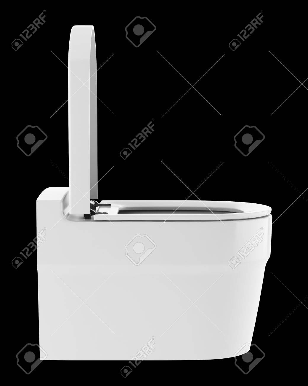 single modern toilet bowl isolated on black background stock photo  - stock photo  single modern toilet bowl isolated on black background