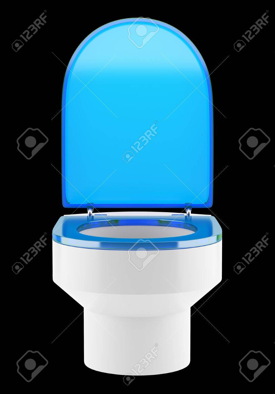 single modern toilet bowl with blue cover isolated on black background Stock Photo - 18877676