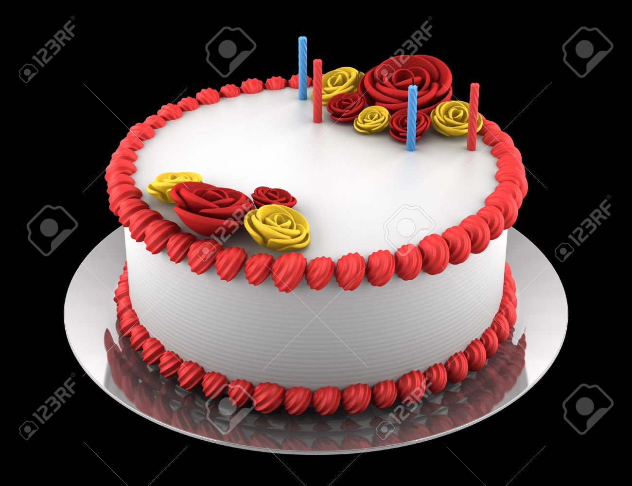 Admirable Round Birthday Cake With Candles Isolated On Black Background Funny Birthday Cards Online Barepcheapnameinfo