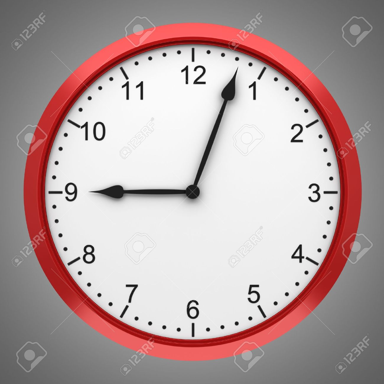 red round wall clock isolated on gray background stock photo