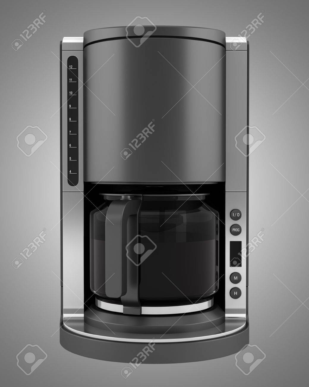 modern coffee machine isolated on gray background stock photo  - stock photo  modern coffee machine isolated on gray background