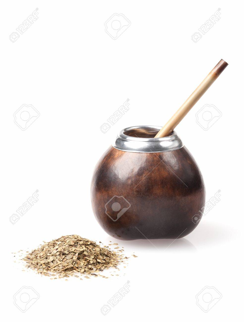 calabash and bombilla with yerba mate isolated on white background Stock Photo - 20190595