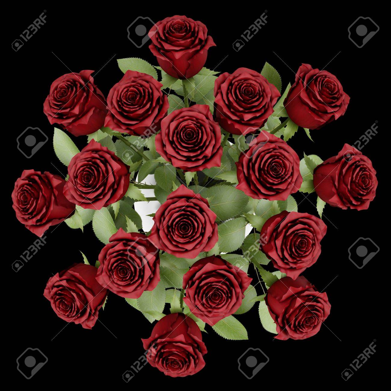 top view bouquet of red roses in vase isolated on black background Stock Photo - 20545148
