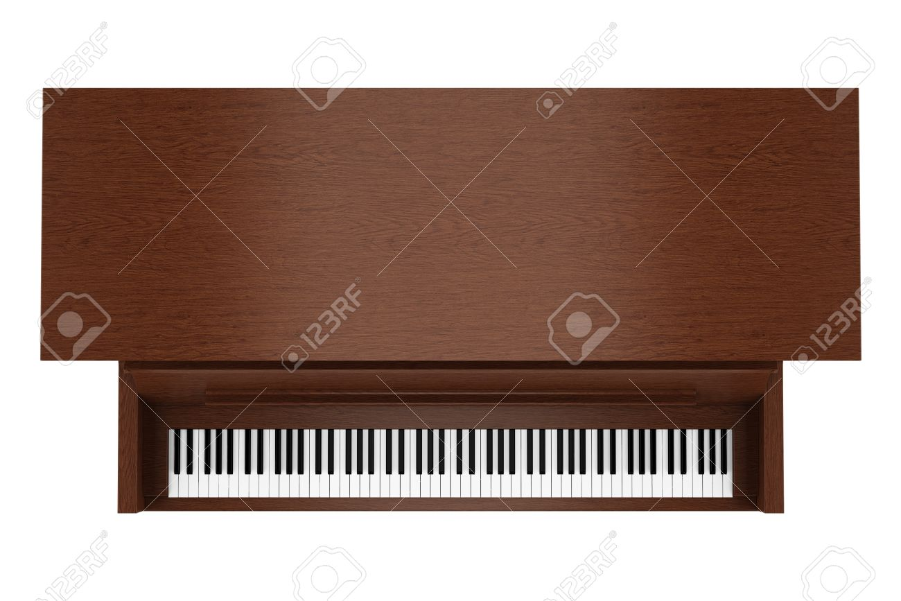 top view of brown upright piano isolated on white background Stock Photo - 20597490