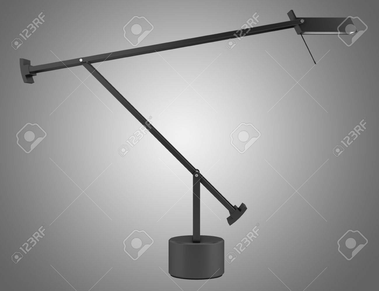 Lampe de bureau noir moderne isolé sur fond gris banque d images