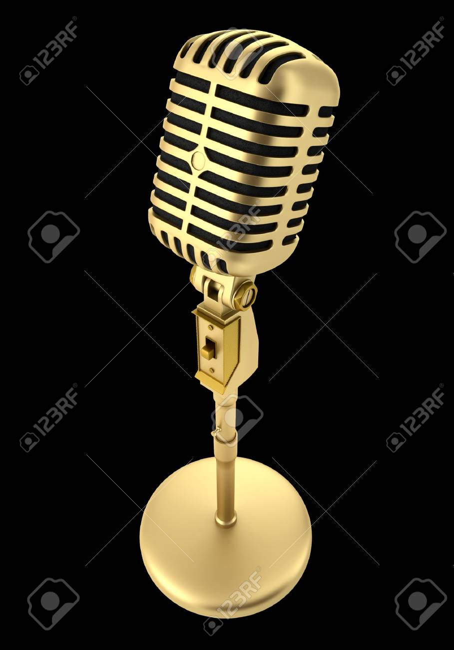 golden vintage microphone isolated on black background Stock Photo - 20723014