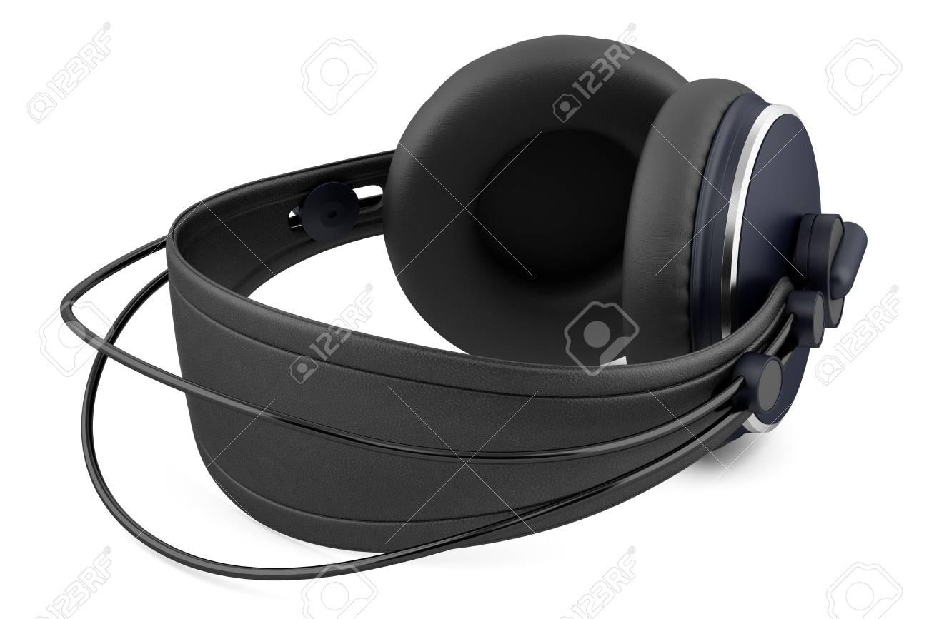black wireless headphones isolated on white background Stock Photo - 20840025