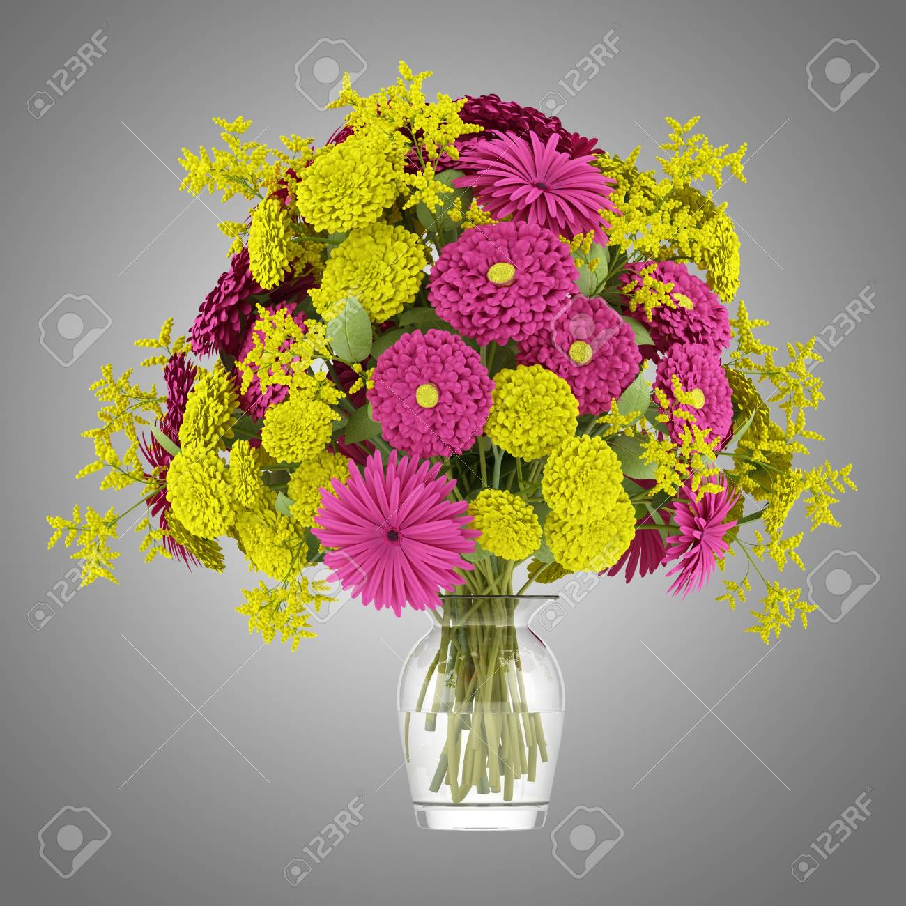 Bouquet Of Yellow And Purple Flowers In Vase Isolated On Gray
