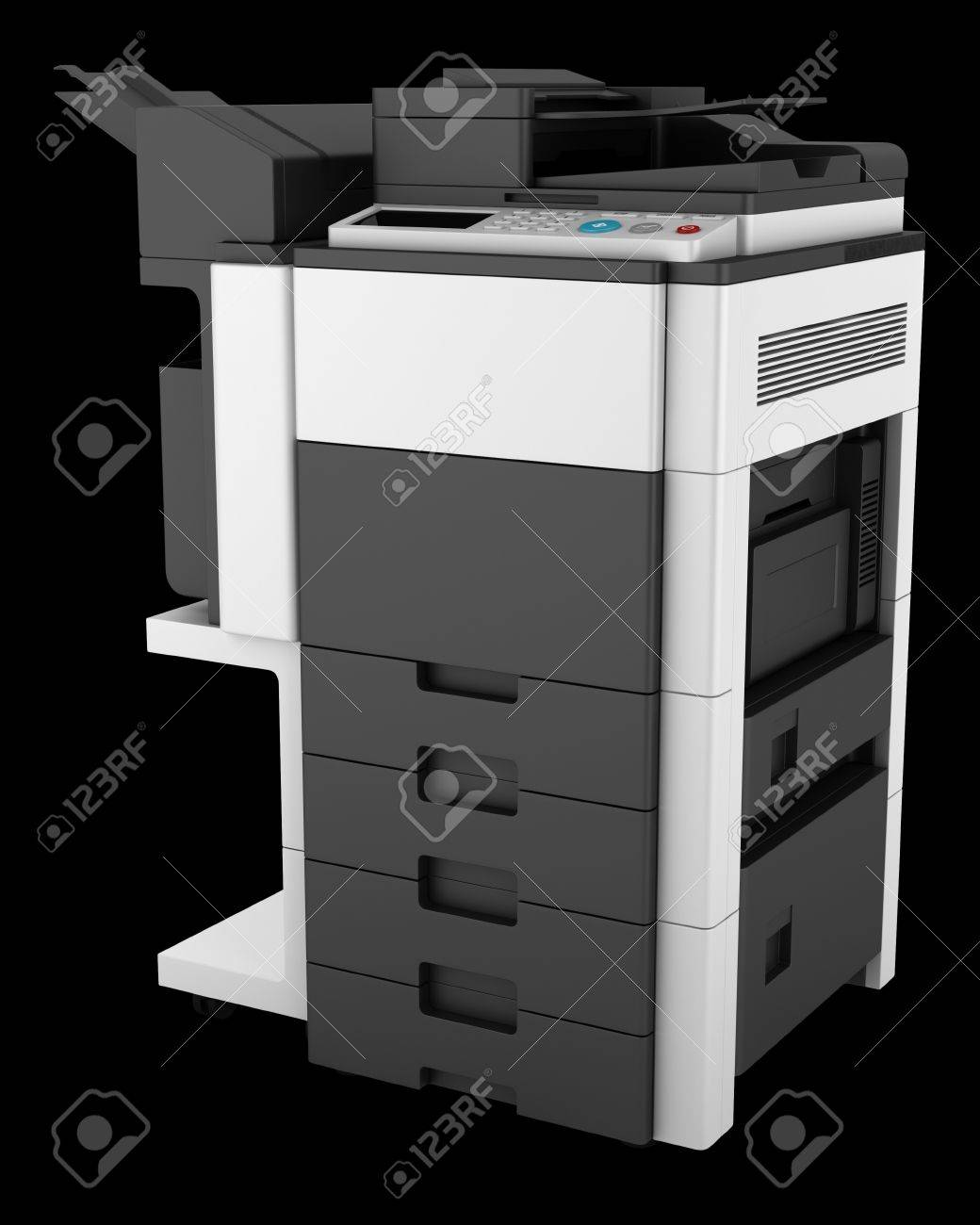 modern office multifunction printer isolated on black background Stock Photo - 20840249