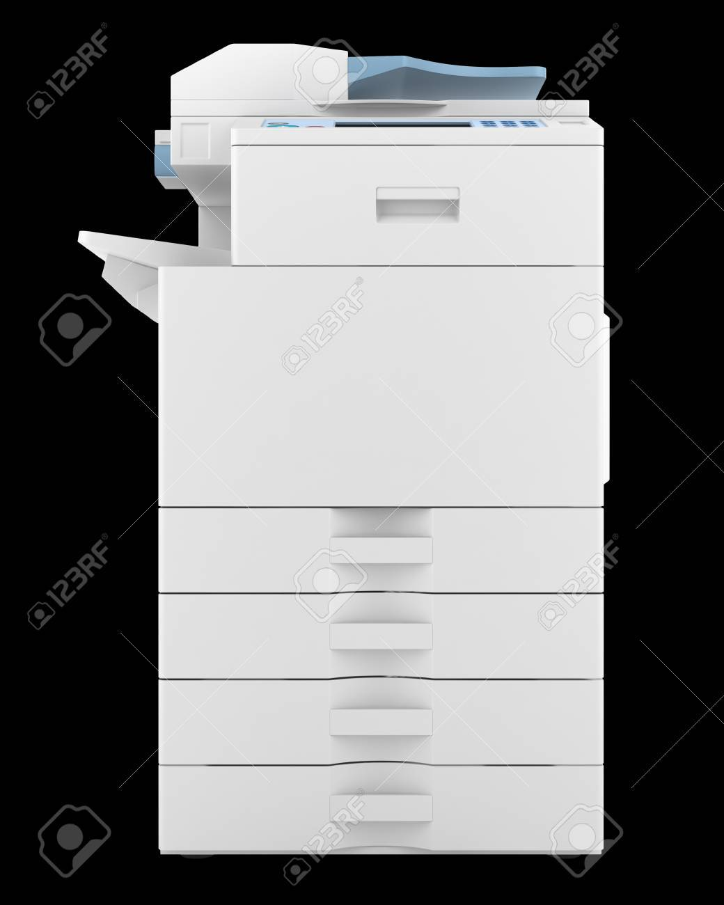 modern office multifunction printer isolated on black background Stock Photo - 20840244