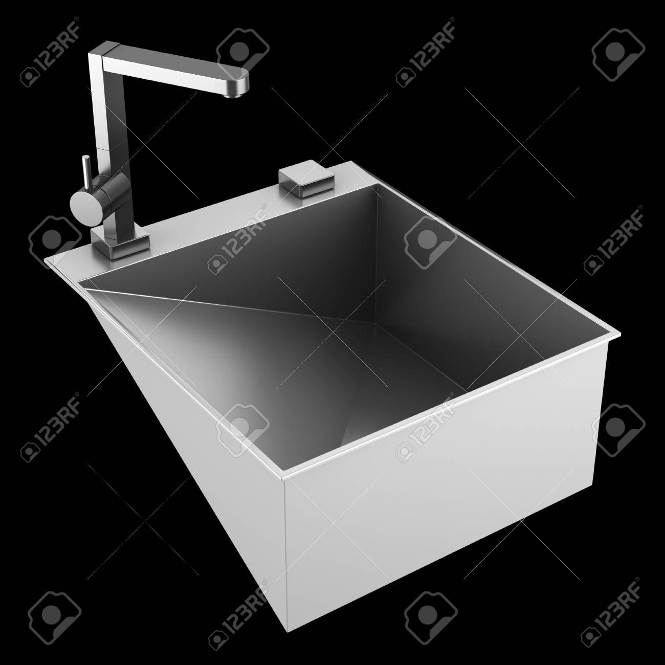 modern metal sink isolated on black background Stock Photo - 21060305