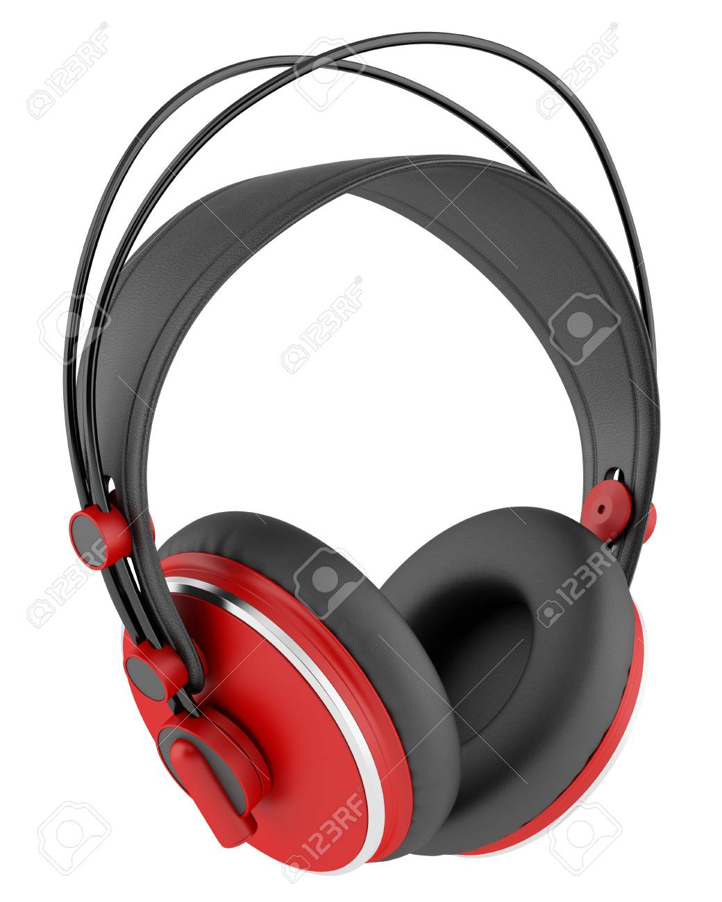 red and black wireless headphones isolated on white background Stock Photo - 21060319