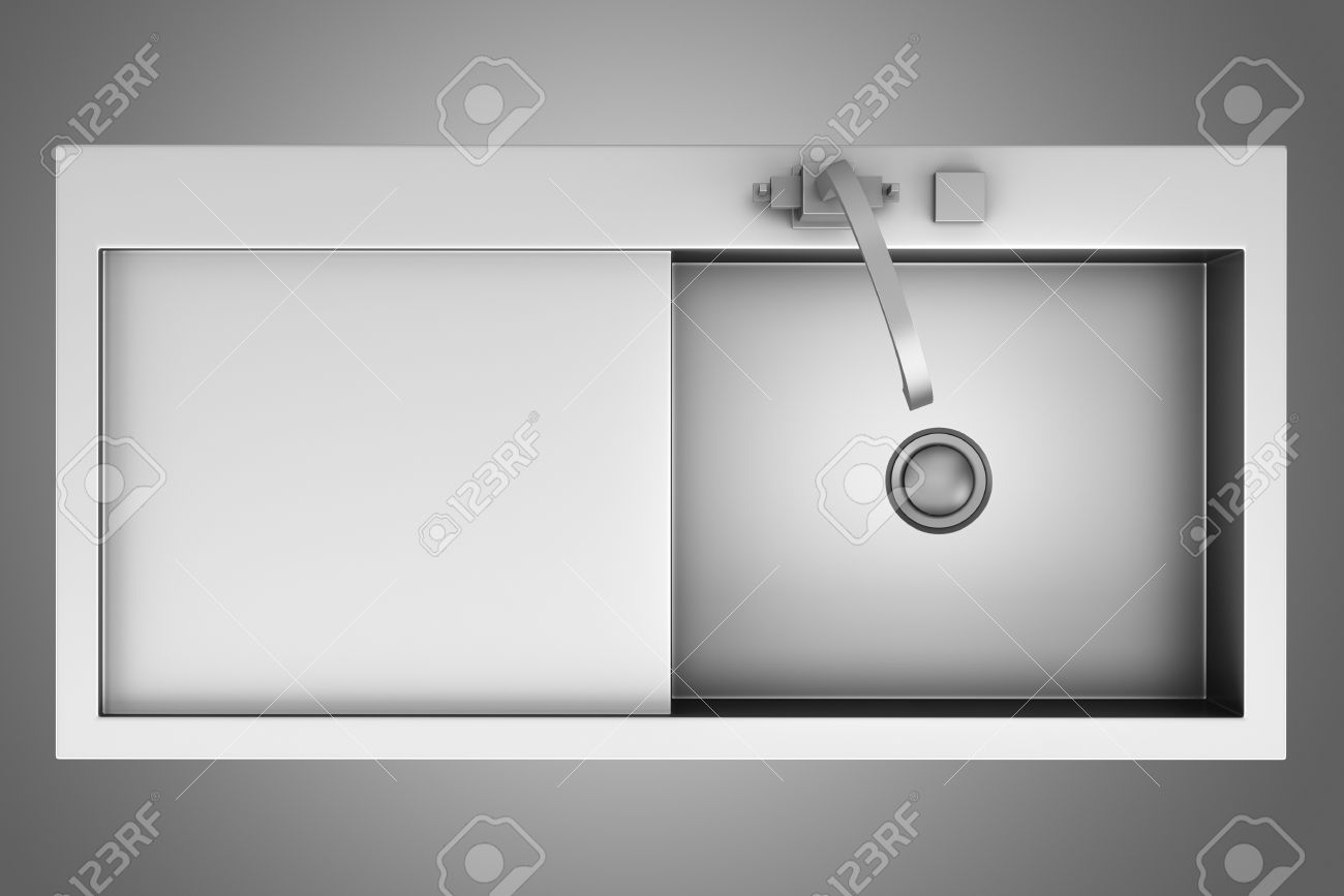 Top View Of Modern Metal Sink Isolated On Gray Background Stock ... for Modern Sink Top View  76uhy