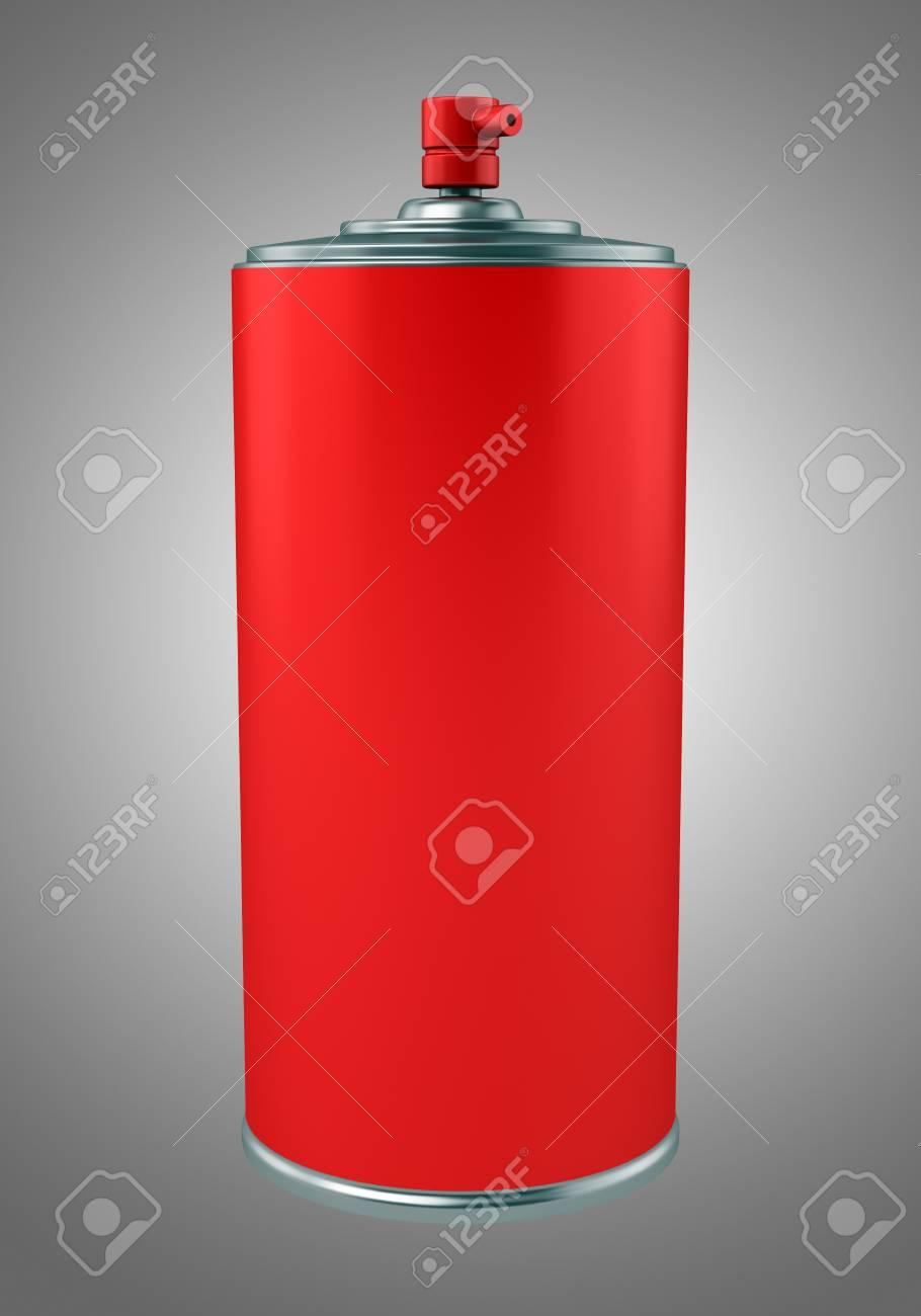 Pulvérisation de peinture rouge peut isolé sur fond gris