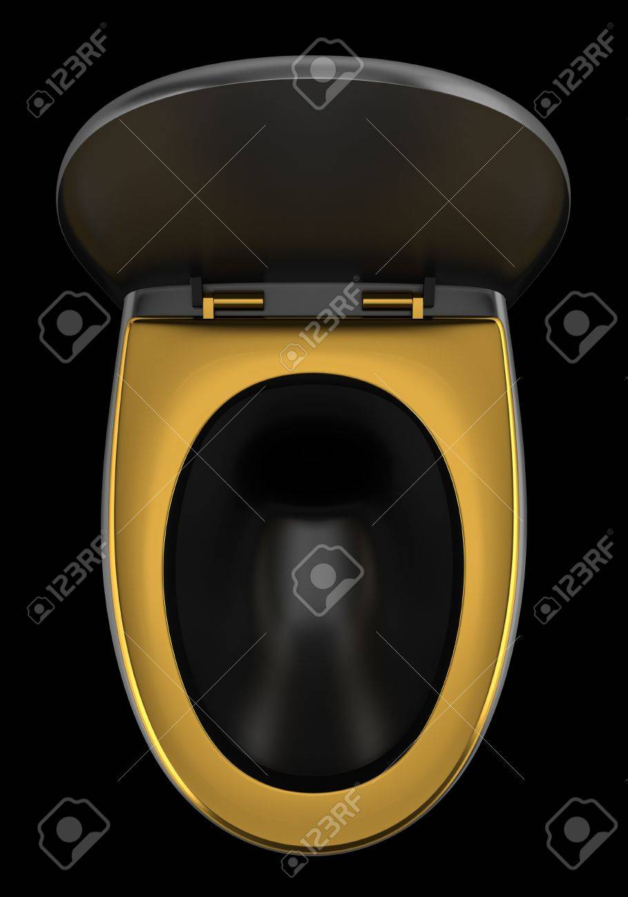 top view of black toilet bowl isolated on black background Stock Photo - 21222788